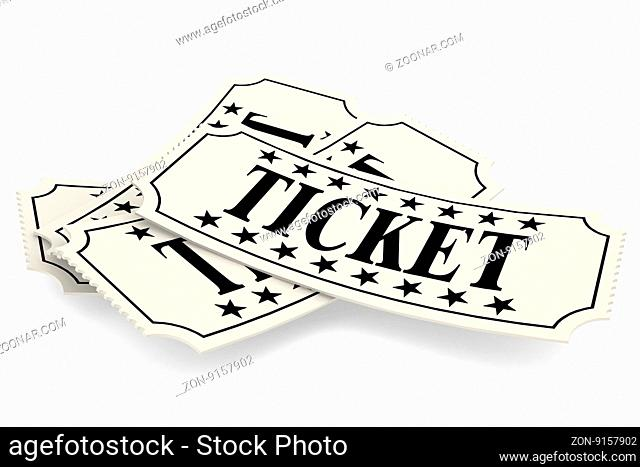 Ticket paper, isolated on white, 3D rendering