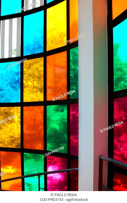 Cinq couleurs pur une cylindre, Daniel Buren artist, Palazzo della Triennale, design and architecture museum, Parco Sempione park, Milan, Lombardy, Italy