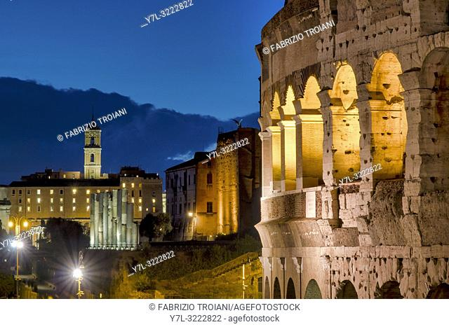 View of the Colosseum and the Campidoglio, Rome, Italy
