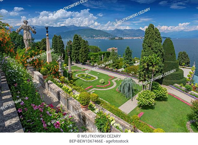 Garden and statues on Isola Bella overlooking Lake Maggiore, Italy
