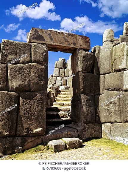 Entrance to Sacsayhuamán or Saksaq Waman Inca or Incan mountain fortress near Cusco, Peru, South America