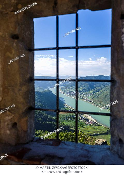 The castle ruin Aggstein high above the Danube in the Wachau. The Wachau is a famous vineyard and listed as Wachau Cultural Landscape as UNESCO World Heritage