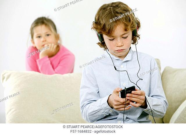 Boy using smartphone