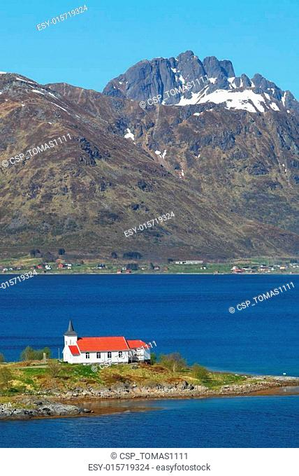 Church in fjord on Lofoten islands in Norway