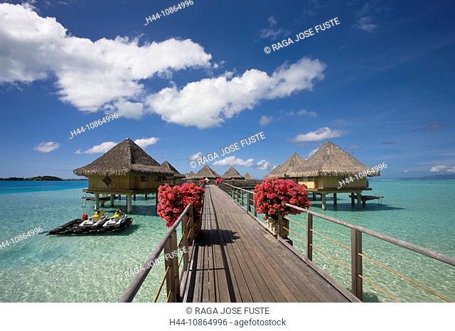 Tahiti, Society Islands, Bora Bora Island, Huts, Intercontinental Resort