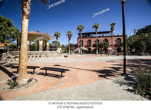 Gazebo in Plaza Juárez. Downtown, historic center. Loreto. UNESCO World Heritage Site. Baja California Sur, Mexico