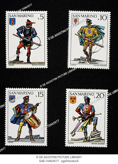 Postage stamps from the series honouring the historical reenactment of the Crossbow tournament, 1973, depicting Military uniforms and different castles' coats...