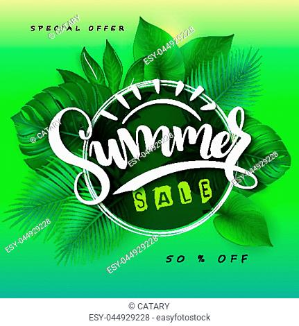 vector illustration of sale banner with hand lettering text, triangle frame and tropical leaves - monstera , palm, aralia