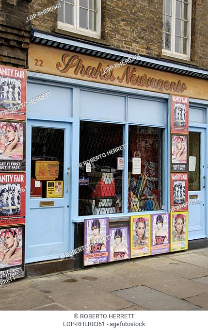 England, London, Smithfield, The front of a traditional newsagents in West Smithfield