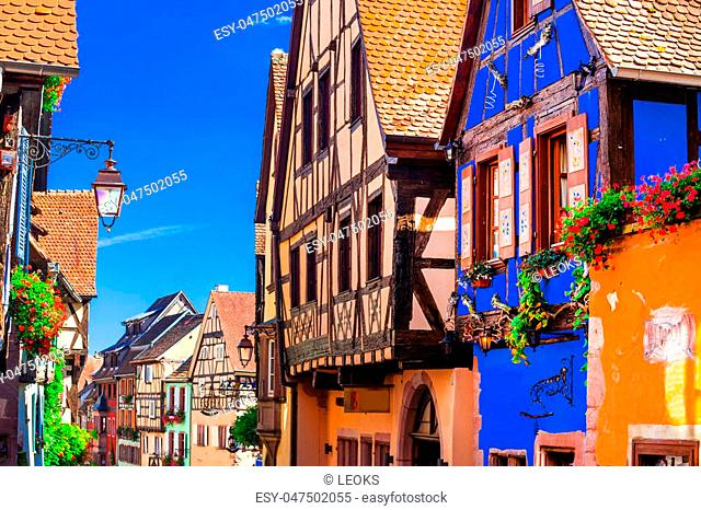 colored houses of Riquewihr village,Alsace,France