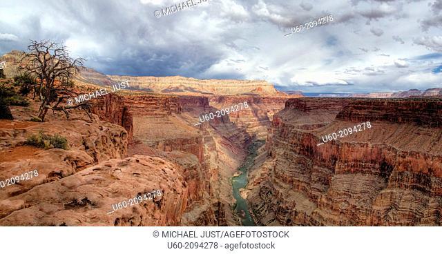 Stormy skies threaten the Grand Canyon at Toroweap at Grand Canyon National Park, Arizona