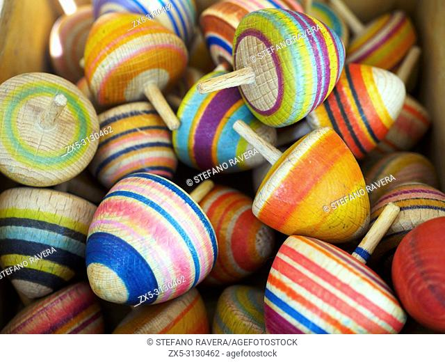 Coloured wooden spinning tops - Bruges, Belgium