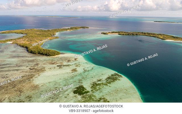 Aerial View carenero Archipelago Los Roques Venezuela,
