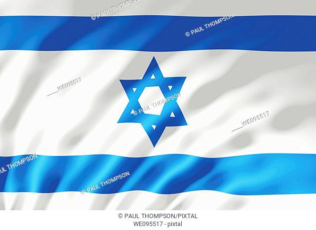 The Israel flag shown with ripples caused by the wind