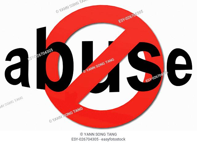 Stop abuse sign in red with white background, 3D rendering