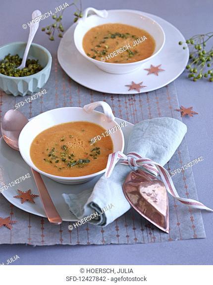 Sweet potato and orange soup for Christmas