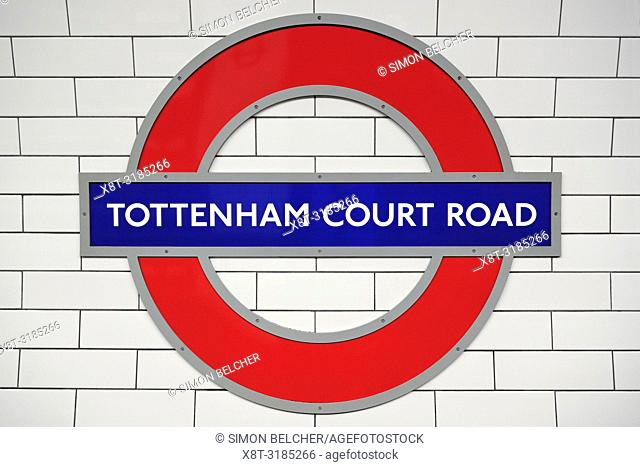 Tottenham Court Road Station Sign, London, United Kingdom