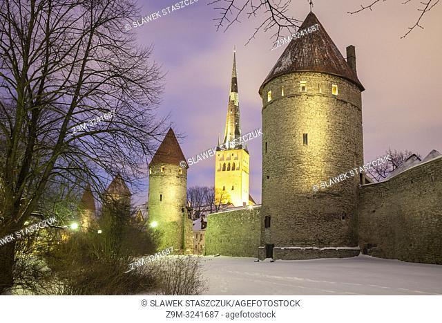 Winter evening at Tallinn city walls, Estonia