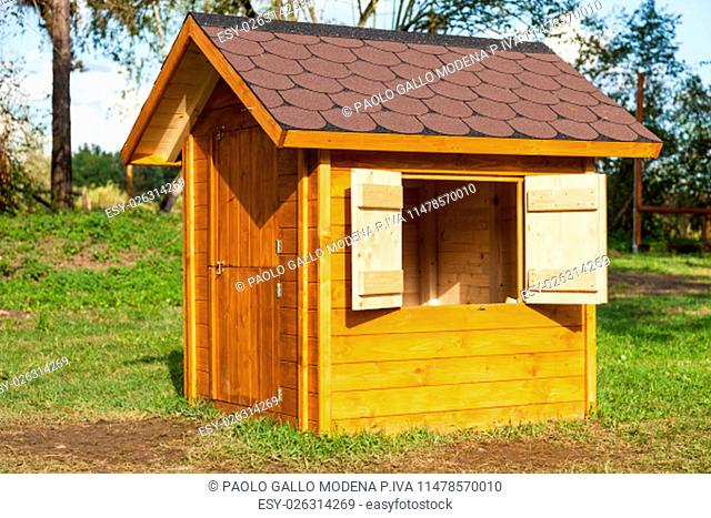 Small children houses made of wood in an Italian park