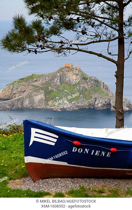 Coastline and hermitage in San Juan de Gaztelugatxe  Bermeo, Biscay, Basque Country, Spain
