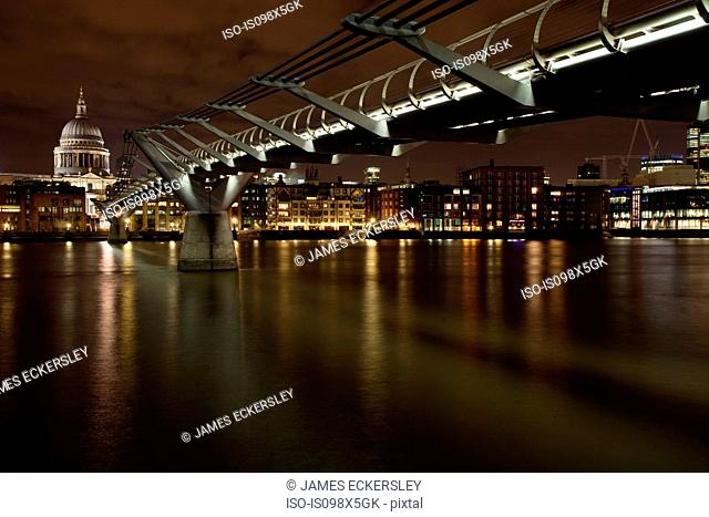 Millennium Bridge and River Thames, London, UK
