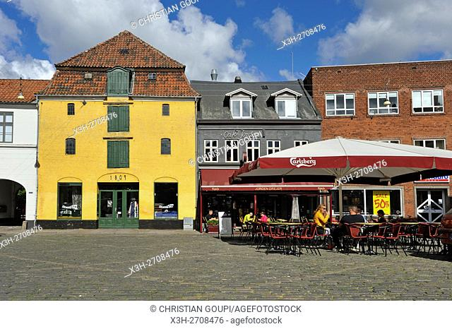 small square Pustervig Torv, Rosensgade street, Latin Quarter, Aarhus, Jutland Peninsula, Denmark, Northern Europe