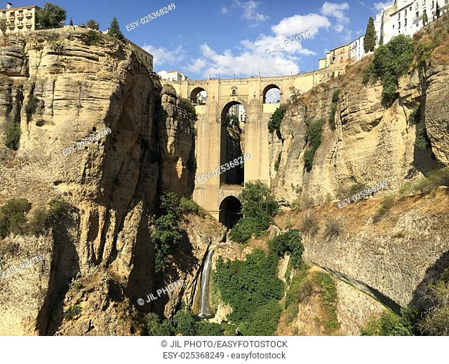 "Gorge """"Tajo"""", New Bridge and town, Ronda, Malaga-province, Region of Andalusia, Spain, Europe"