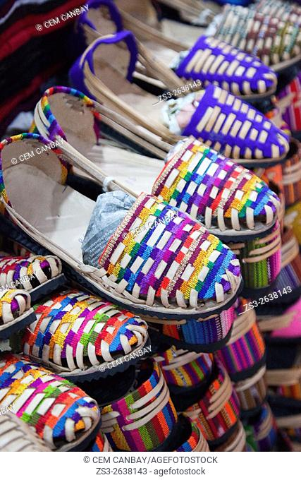 Traditional shoes for sale at the Art and Craft market, San Cristobal de las Casas, Chiapas State, Mexico, North America