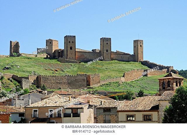 Alcazar Castle, fortress, towers, mountain, town, houses, roofs, historic town centre, Molina de Aragon, Castille La Mancha, Spain, Europe