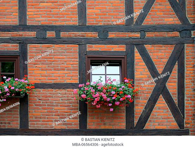 Photography of the facade of a half-timbered house with flowers at the window