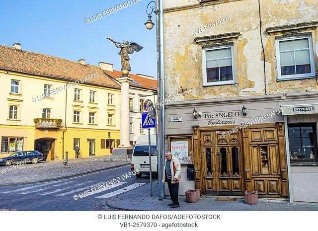 Angel of Uzupis monument in the self-declared independent republic at Uzupis bohemian district in Vilnius, Lithuania
