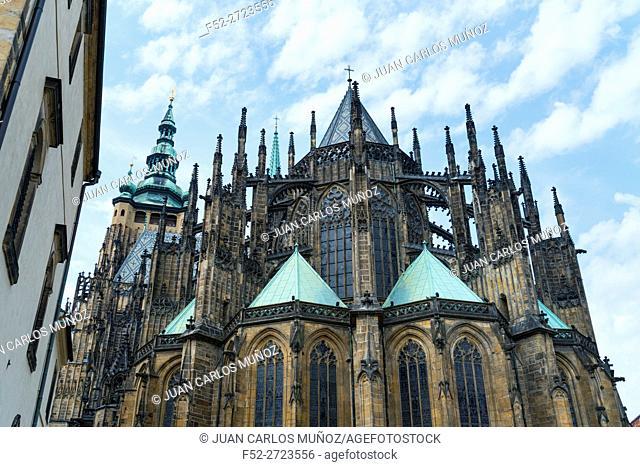 St. Vitus Cathedral, Prague Castle, Prazsky hrad, Prague, Czech Republic, Europe