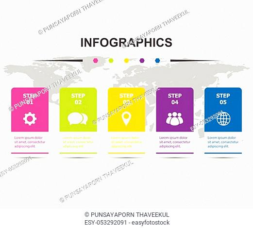Infographic design template with 5 steps, stock vector