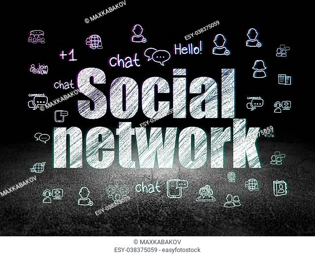 Social media concept: Glowing text Social Network, Hand Drawn Social Network Icons in grunge dark room with Dirty Floor, black background, 3d render