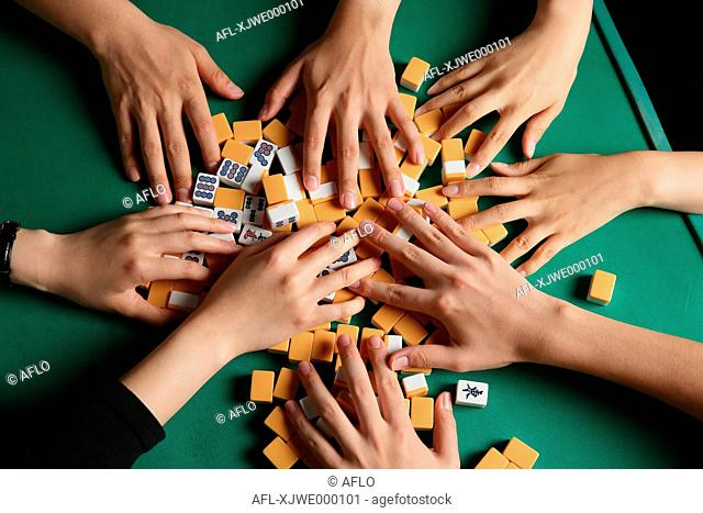 Japanese people playing Mahjong