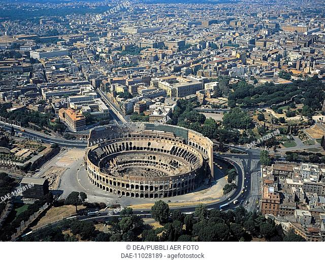 Italy - Latium region - Rome. The Colosseum or Flavian Amphitheater, 70-80 A.D. (UNESCO World Heritage List, 1980). Aerial view