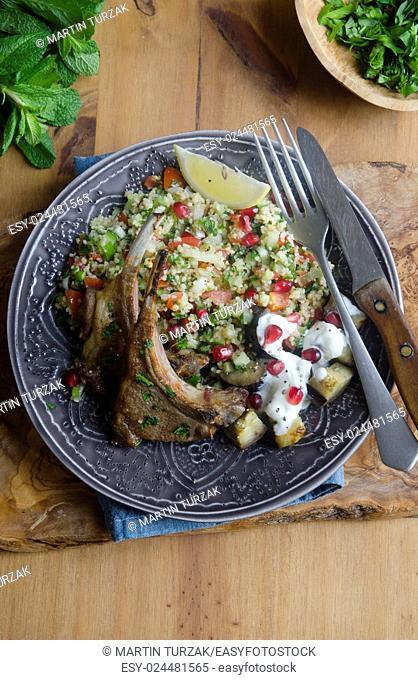 Tabbouleh salad with rack of lamb