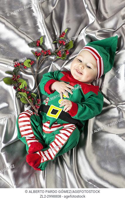 Baby In Santa Costume At Christmas, Valencia