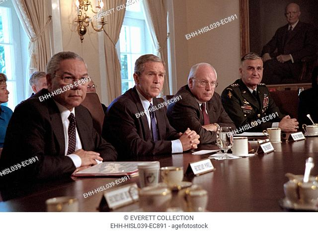 National Security Council on Sept 12, 2001, the day following the 9-11 Terrorist Attacks. L-R: Colin Powell, Secretary of State; President Bush