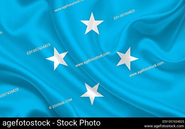 Micronesia country flag on wavy silk fabric background panorama - illustration