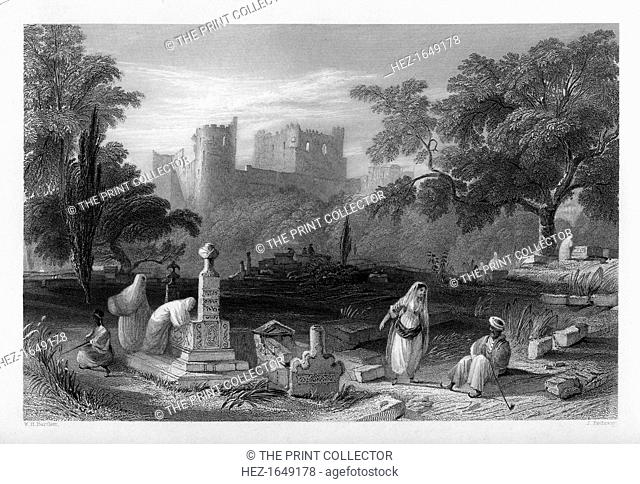 A Turkish burial ground at Sidon, Lebanon, 1841. From Syria, the Holy land and Asia Minor, volume II, by John Carne, published by Fisher, Son & Co