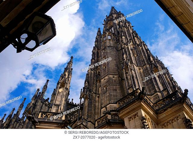 St. Vitus Cathedral is the largest cathedral in Prague and one of its most significant monuments . It is located within the Prague Castle