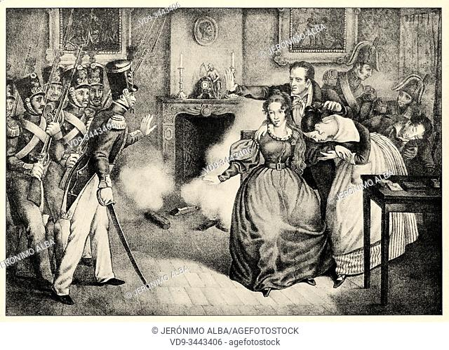 The arrest of the Duchess of Berry, November 7, 1832. History of France, old engraved illustration image from the book Histoire contemporaine par l'image 1872