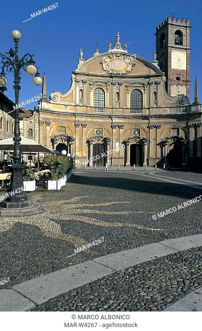 italy, lombardia, vigevano, piazza ducale and cathedral