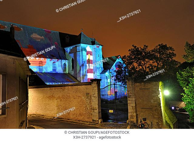 illumination on the collegiate church of St-Andre, Chartres, Eure-et-Loir department, Centre -Val de Loire region, France, Europe