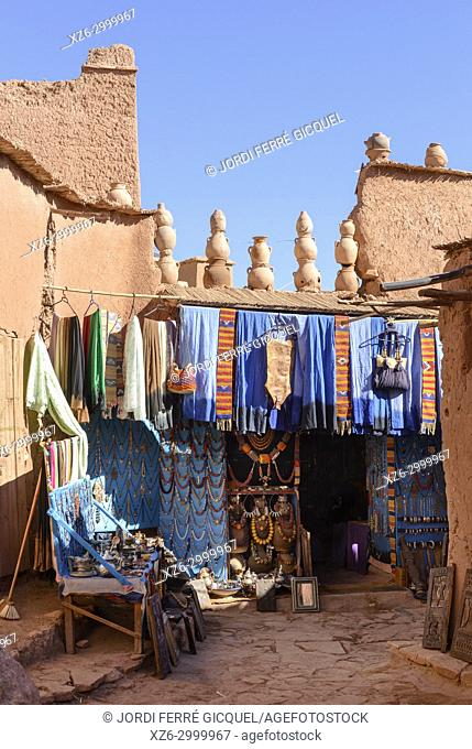 Typical souk at The Ksar of Ait-Ben-Haddou, Aït Benhaddou, Morocco, Africa