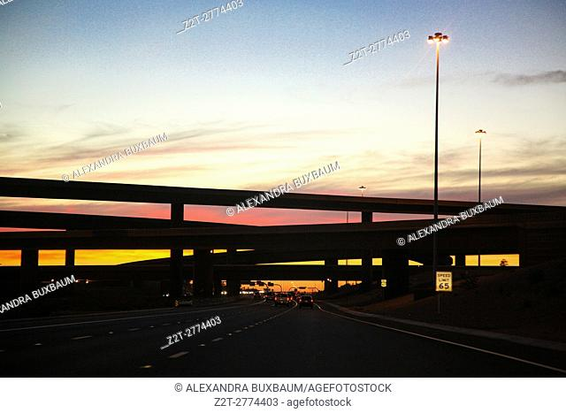 Sunset along the interstate highway in Arizona, USA