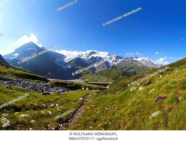 Pass road on Susten Mountain Pass, Uri Alps, Canton of Bern, Switzerland
