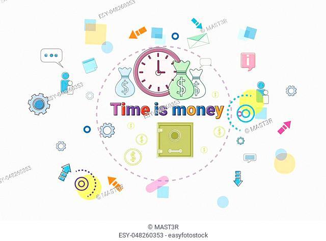 Time Is Money, Business Schedule Management Deadline Concept Web Banner Vector illustration