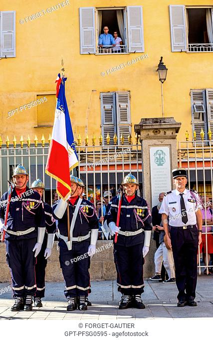 FLAG HANDOVER CEREMONY, TAKING UP THE ARMS, FIREFIGHTERS, 124TH FRENCH FIREFIGHTERS CONGRESS, AJACCIO, SOUTHERN CORSICA, FRANCE